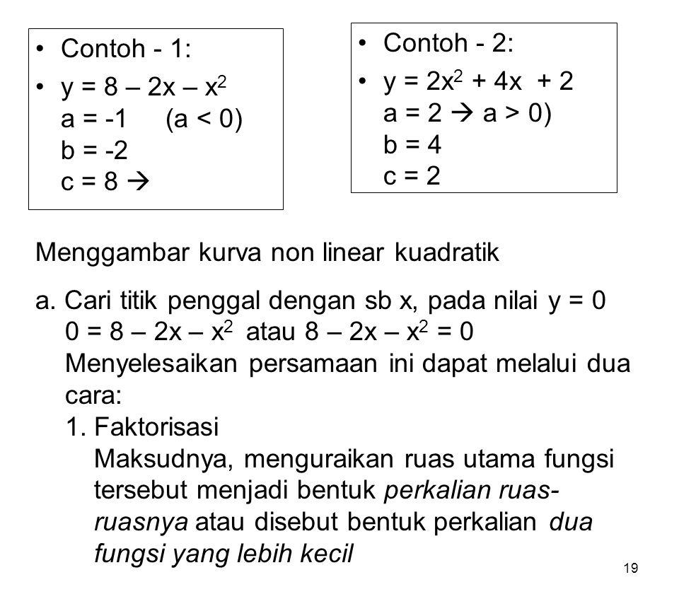 19 Contoh - 1: y = 8 – 2x – x 2 a = -1 (a < 0) b = -2 c = 8  Contoh - 2: y = 2x 2 + 4x + 2 a = 2  a > 0) b = 4 c = 2 Menggambar kurva non linear kua