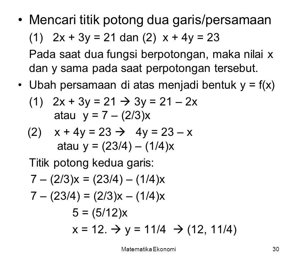Matematika Ekonomi30 Mencari titik potong dua garis/persamaan (1) 2x + 3y = 21 dan (2) x + 4y = 23 Pada saat dua fungsi berpotongan, maka nilai x dan