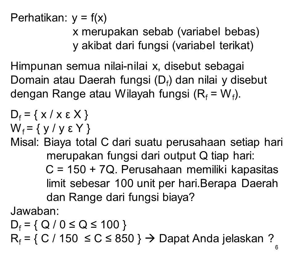 6 Perhatikan: y = f(x) x merupakan sebab (variabel bebas) y akibat dari fungsi (variabel terikat) Himpunan semua nilai-nilai x, disebut sebagai Domain
