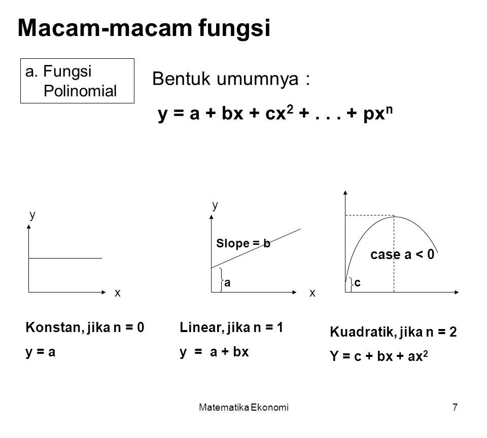 Matematika Ekonomi28 Mencari titik potong dua garis/persamaan Pada saat dua fungsi berpotongan, maka nilai x dan y sama pada perpotongan tersebut Caranya: (1) Bentuk fungsi harus y = f(x) (2) samakan kedua fungsi untuk mendapat titik potong Cari titik potong fungsi x = 15 – 2y dan 3y = x +3 x = 15 – 2y  y = -(1/2)x + 15/2 3y = x +3  y = (1/3)x + 1 -(1/2)x + 15/2 = (1/3)x + 1 -(1/2)x – (1/3)x = 1 – 15/2 x = 78/10