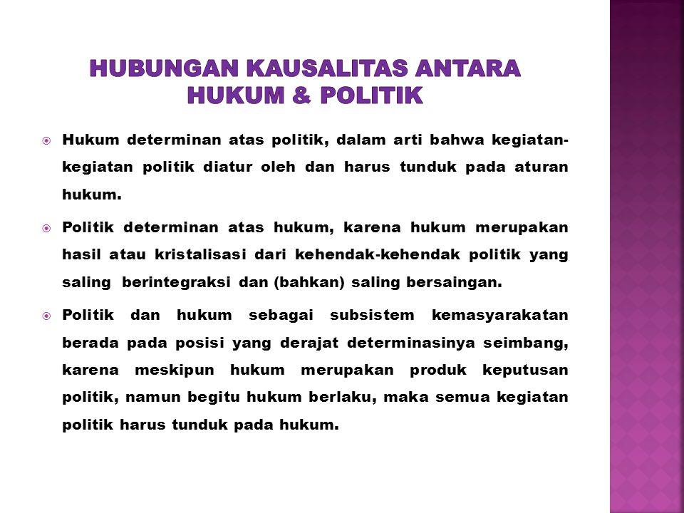  Hukum determinan atas politik, dalam arti bahwa kegiatan- kegiatan politik diatur oleh dan harus tunduk pada aturan hukum.