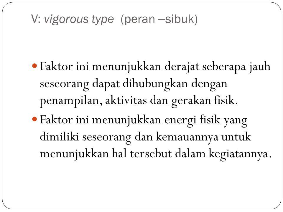 V: vigorous type (peran – sibuk) Faktor ini menunjukkan derajat seberapa jauh seseorang dapat dihubungkan dengan penampilan, aktivitas dan gerakan fisik.
