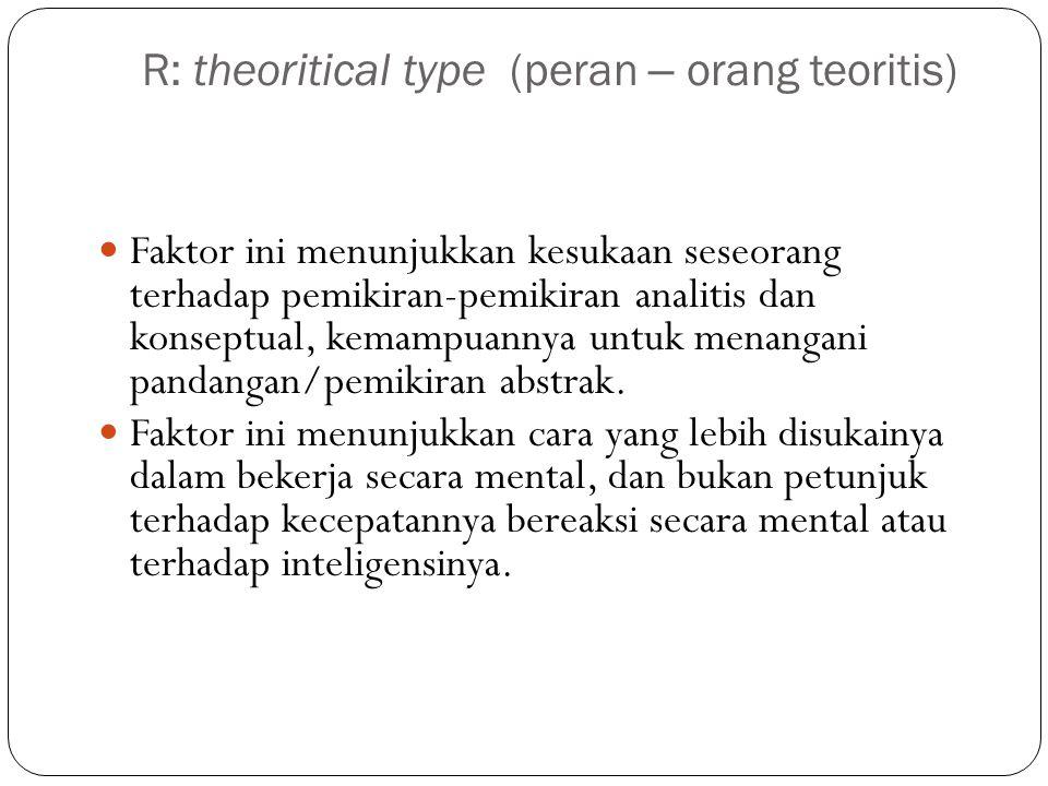 R: theoritical type (peran – orang teoritis) Faktor ini menunjukkan kesukaan seseorang terhadap pemikiran-pemikiran analitis dan konseptual, kemampuannya untuk menangani pandangan/pemikiran abstrak.