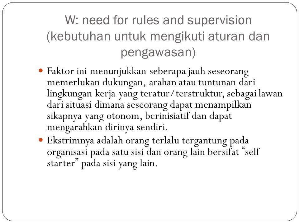 W: need for rules and supervision (kebutuhan untuk mengikuti aturan dan pengawasan) Faktor ini menunjukkan seberapa jauh seseorang memerlukan dukungan, arahan atau tuntunan dari lingkungan kerja yang teratur/terstruktur, sebagai lawan dari situasi dimana seseorang dapat menampilkan sikapnya yang otonom, berinisiatif dan dapat mengarahkan dirinya sendiri.