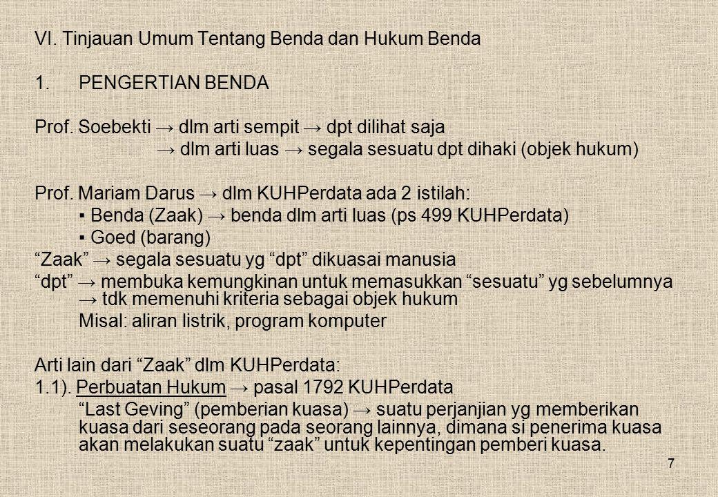 7 VI.Tinjauan Umum Tentang Benda dan Hukum Benda 1.PENGERTIAN BENDA Prof.
