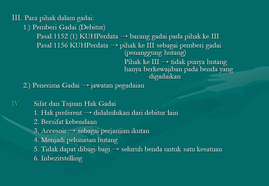 III. Para pihak dalam gadai: 1.) Pemberi Gadai (Debitur) 1.) Pemberi Gadai (Debitur) Pasal 1152 (1) KUHPerdata → barang gadai pada pihak ke III Pasal