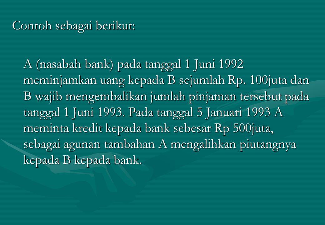 Contoh sebagai berikut: A (nasabah bank) pada tanggal 1 Juni 1992 meminjamkan uang kepada B sejumlah Rp. 100juta dan B wajib mengembalikan jumlah pinj