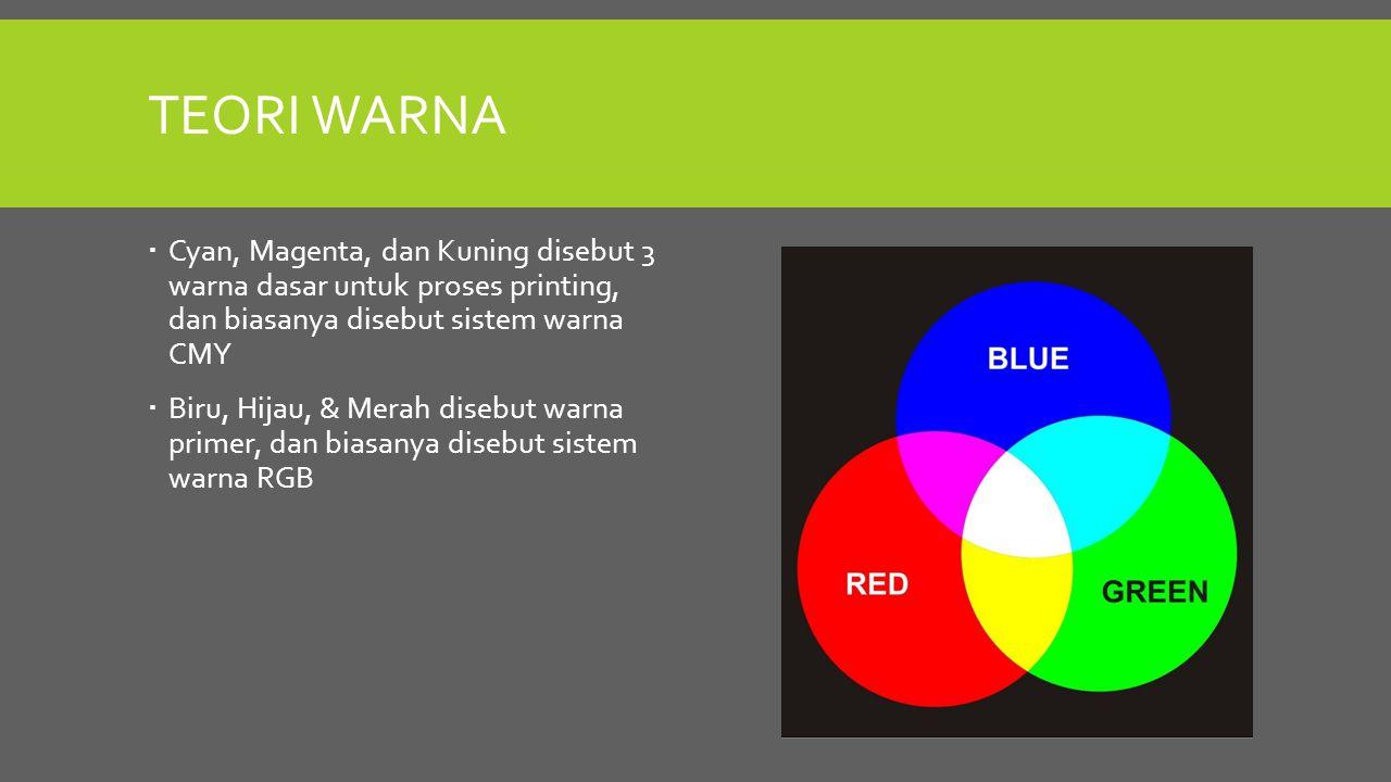 TEORI WARNA  Cyan, Magenta, dan Kuning disebut 3 warna dasar untuk proses printing, dan biasanya disebut sistem warna CMY  Biru, Hijau, & Merah dise
