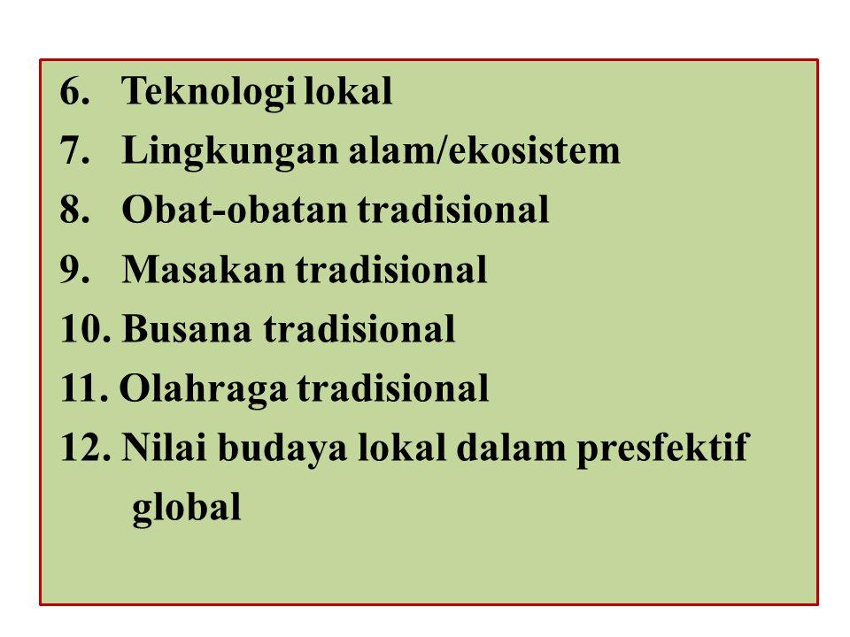 Peraturan Gubernur Provinsi Kal-Teng, nomor 22 tahun 2011 Tentang tata laksana Kurikulum Muatan Lokal. Pasal 6 Mulok meliputi : 12 kearifan Lokal 1.Ba