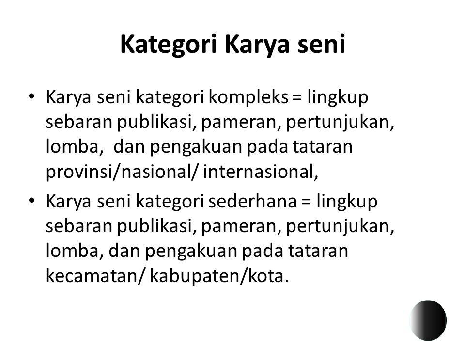 Kategori Karya seni Karya seni kategori kompleks = lingkup sebaran publikasi, pameran, pertunjukan, lomba, dan pengakuan pada tataran provinsi/nasiona