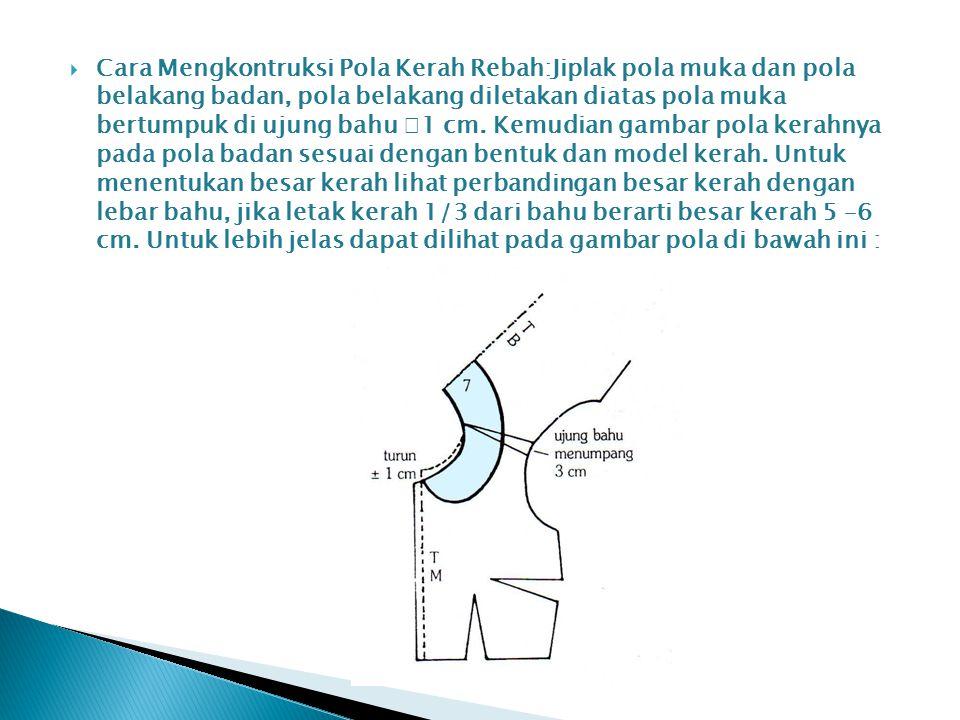  Cara Mengkontruksi Pola Kerah Rebah:Jiplak pola muka dan pola belakang badan, pola belakang diletakan diatas pola muka bertumpuk di ujung bahu  1 c