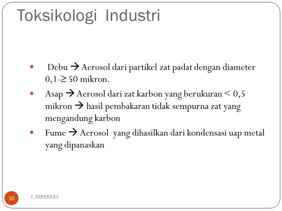 Toksikologi Industri I. HIPERKES 10 Debu  Aerosol dari partikel zat padat dengan diameter 0,1-≥ 50 mikron. Asap  Aerosol dari zat karbon yang beruku