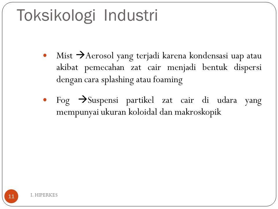 Toksikologi Industri I. HIPERKES 11 Mist  Aerosol yang terjadi karena kondensasi uap atau akibat pemecahan zat cair menjadi bentuk dispersi dengan ca