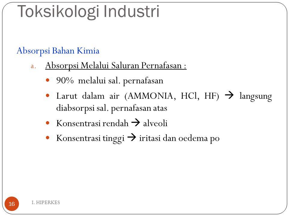 Toksikologi Industri I. HIPERKES 16 Absorpsi Bahan Kimia a. Absorpsi Melalui Saluran Pernafasan : 90% melalui sal. pernafasan Larut dalam air (AMMONIA