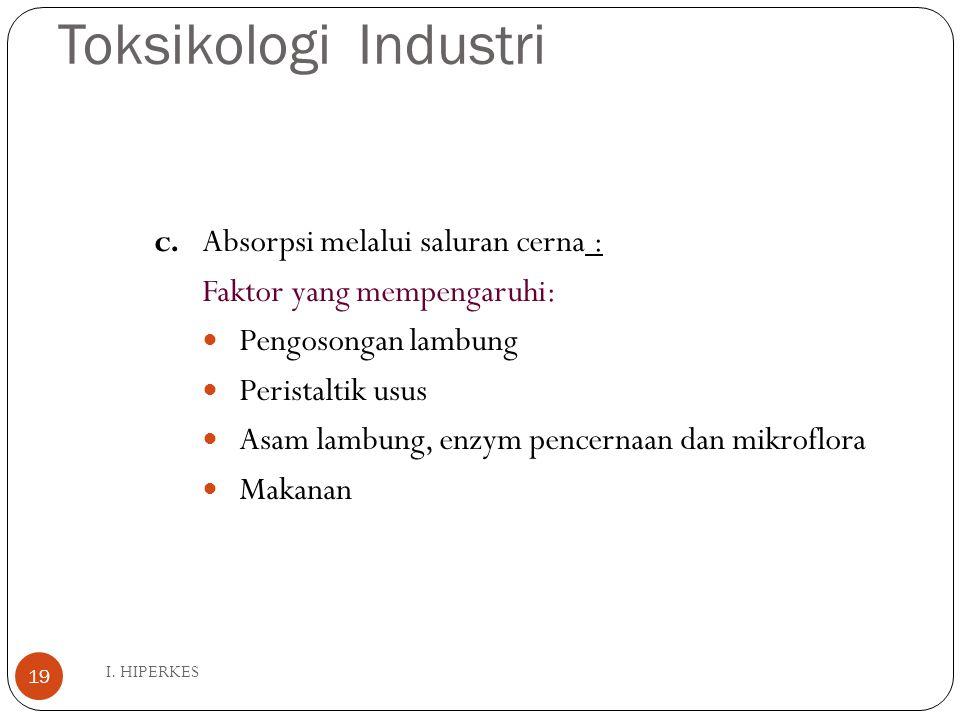 Toksikologi Industri I. HIPERKES 19 c. Absorpsi melalui saluran cerna : Faktor yang mempengaruhi: Pengosongan lambung Peristaltik usus Asam lambung, e