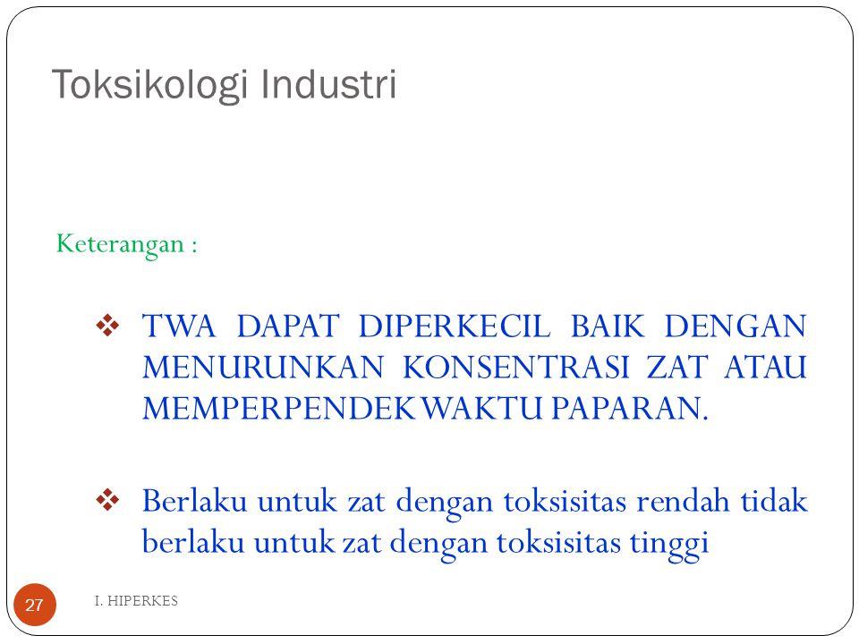 Toksikologi Industri I. HIPERKES 27 Keterangan :  TWA DAPAT DIPERKECIL BAIK DENGAN MENURUNKAN KONSENTRASI ZAT ATAU MEMPERPENDEK WAKTU PAPARAN.  Berl