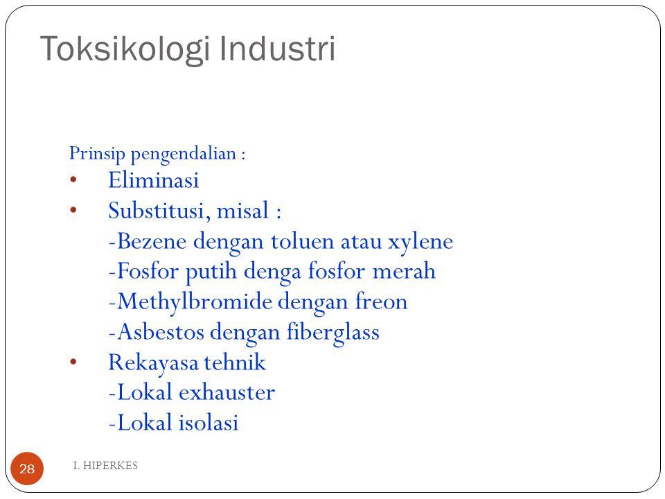 Toksikologi Industri I. HIPERKES 28 Prinsip pengendalian : Eliminasi Substitusi, misal : -Bezene dengan toluen atau xylene -Fosfor putih denga fosfor
