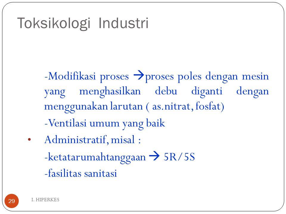 Toksikologi Industri I. HIPERKES 29 -Modifikasi proses  proses poles dengan mesin yang menghasilkan debu diganti dengan menggunakan larutan ( as.nitr
