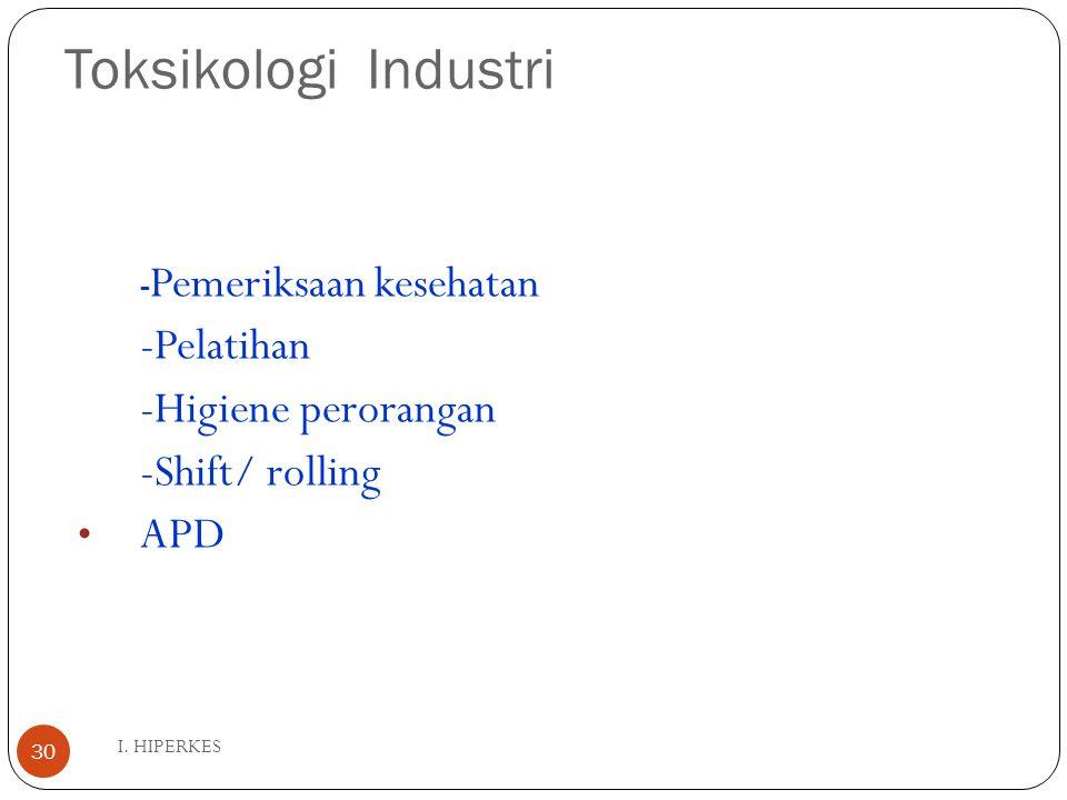 Toksikologi Industri I. HIPERKES 30 - Pemeriksaan kesehatan -Pelatihan -Higiene perorangan -Shift/ rolling APD