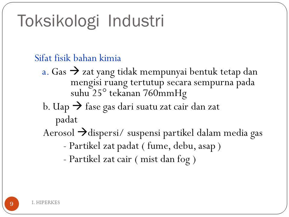 Toksikologi Industri I. HIPERKES 9 Sifat fisik bahan kimia a. Gas  zat yang tidak mempunyai bentuk tetap dan mengisi ruang tertutup secara sempurna p
