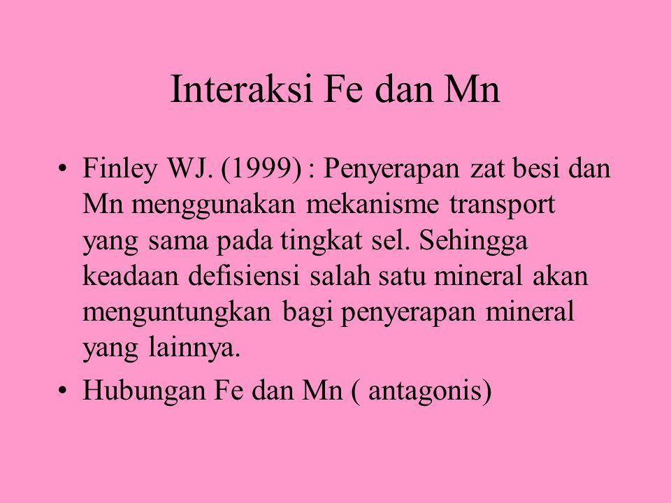 Interaksi Fe dan Mn Finley WJ. (1999) : Penyerapan zat besi dan Mn menggunakan mekanisme transport yang sama pada tingkat sel. Sehingga keadaan defisi