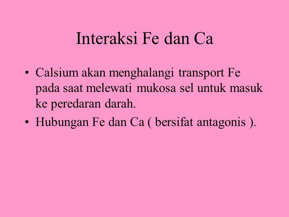 Interaksi Fe dan Ca Calsium akan menghalangi transport Fe pada saat melewati mukosa sel untuk masuk ke peredaran darah. Hubungan Fe dan Ca ( bersifat