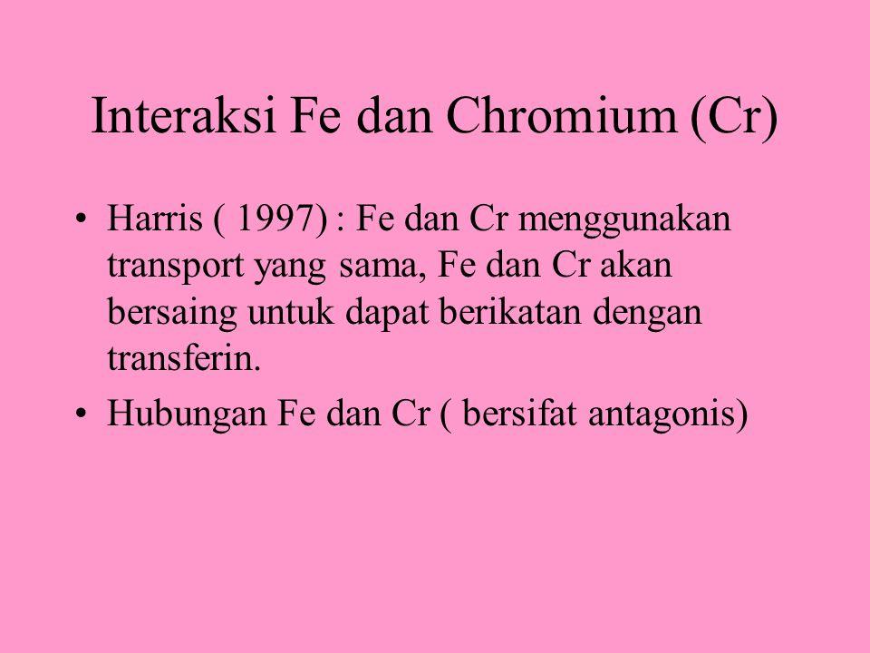 Interaksi Fe dan Chromium (Cr) Harris ( 1997) : Fe dan Cr menggunakan transport yang sama, Fe dan Cr akan bersaing untuk dapat berikatan dengan transferin.