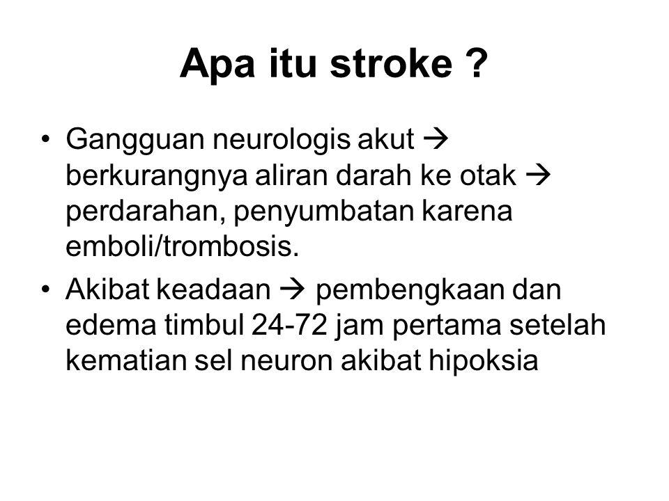 Apa itu stroke ? Gangguan neurologis akut  berkurangnya aliran darah ke otak  perdarahan, penyumbatan karena emboli/trombosis. Akibat keadaan  pemb