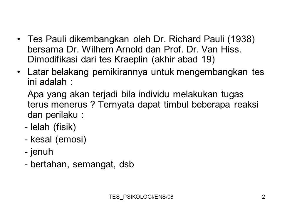 TES_PSIKOLOGI/ENS/082 Tes Pauli dikembangkan oleh Dr. Richard Pauli (1938) bersama Dr. Wilhem Arnold dan Prof. Dr. Van Hiss. Dimodifikasi dari tes Kra