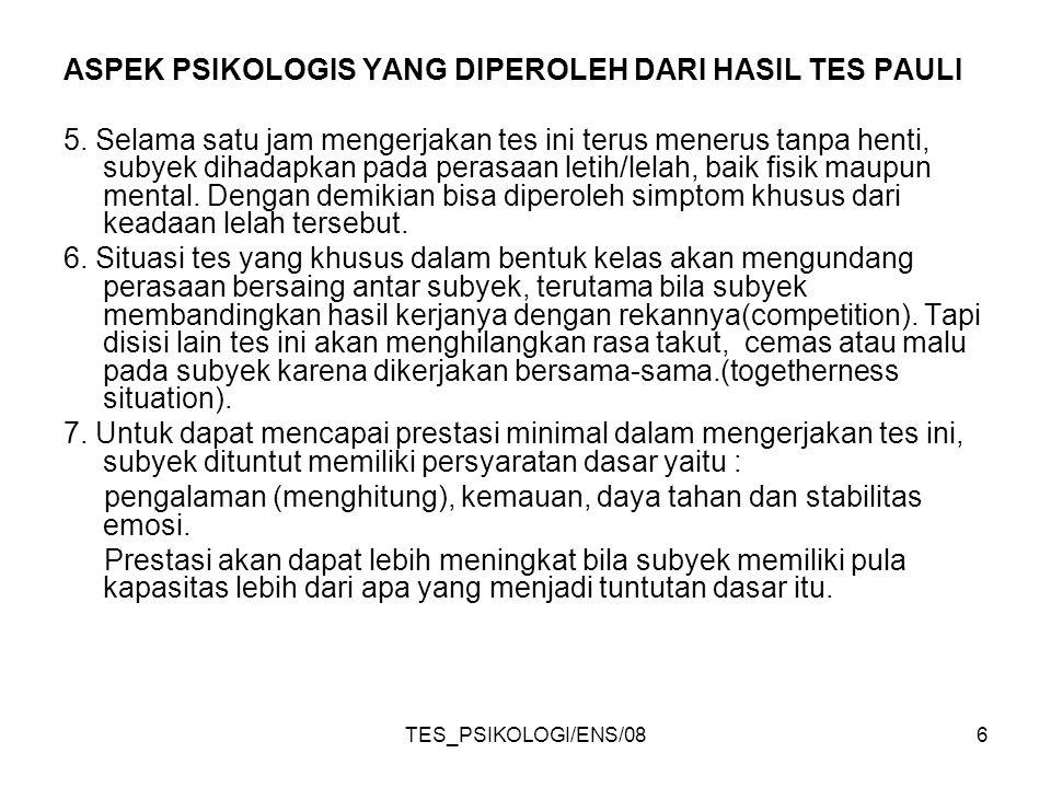 TES_PSIKOLOGI/ENS/086 ASPEK PSIKOLOGIS YANG DIPEROLEH DARI HASIL TES PAULI 5.