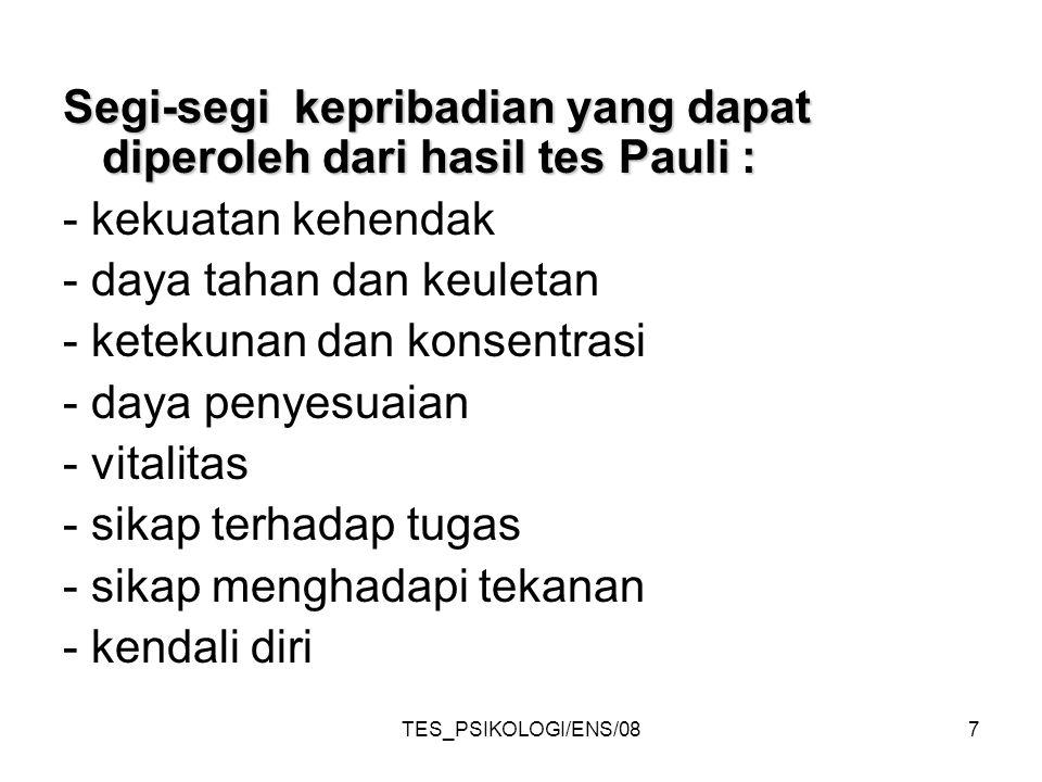 TES_PSIKOLOGI/ENS/087 Segi-segi kepribadian yang dapat diperoleh dari hasil tes Pauli : - kekuatan kehendak - daya tahan dan keuletan - ketekunan dan