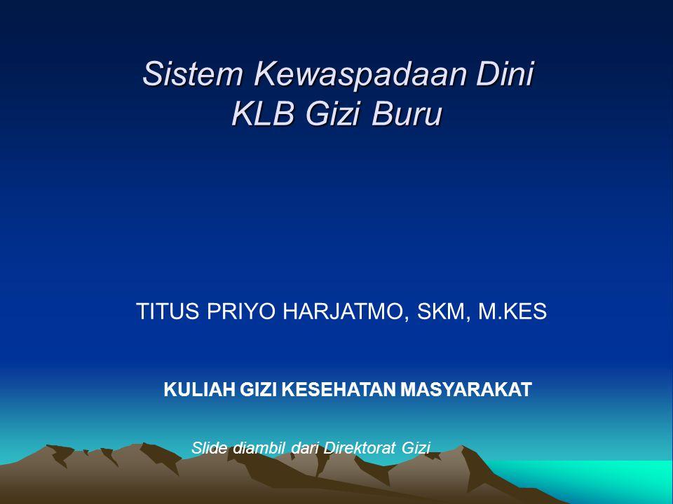 Sistem Kewaspadaan Dini KLB Gizi Buru TITUS PRIYO HARJATMO, SKM, M.KES KULIAH GIZI KESEHATAN MASYARAKAT Slide diambil dari Direktorat Gizi