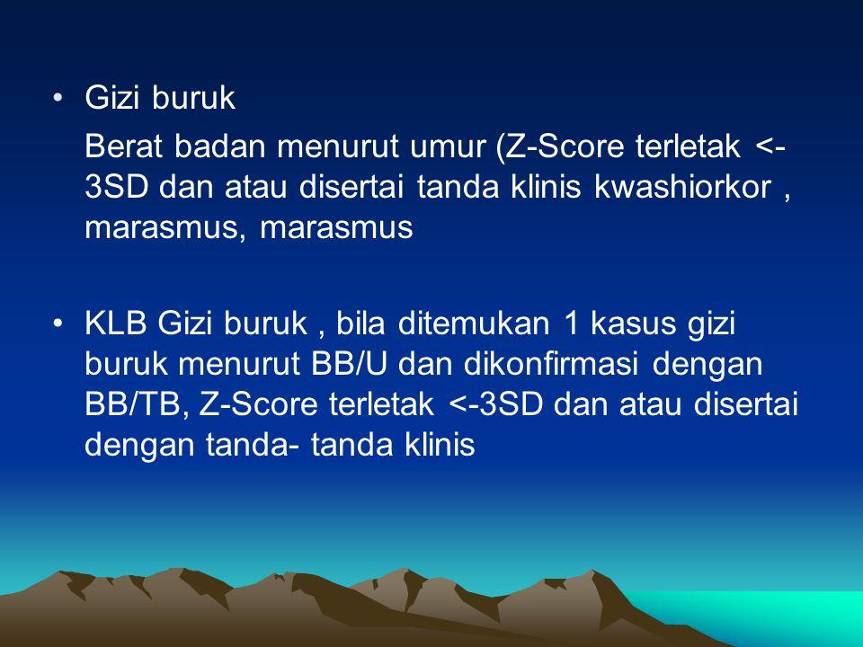 Gizi buruk Berat badan menurut umur (Z-Score terletak <- 3SD dan atau disertai tanda klinis kwashiorkor, marasmus, marasmus KLB Gizi buruk, bila ditem