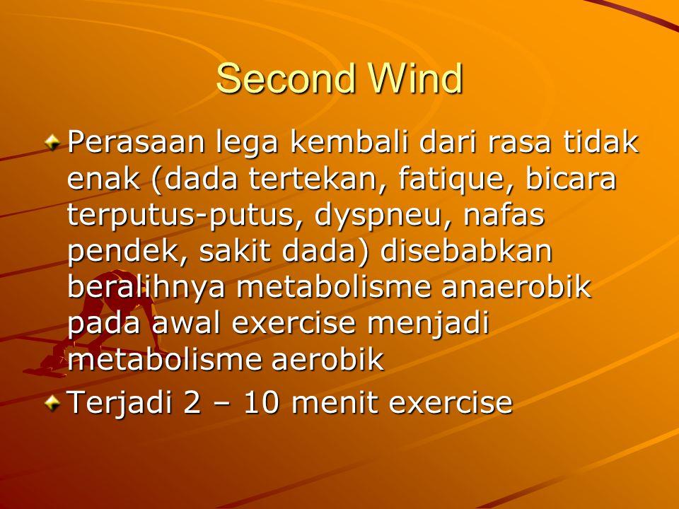 Second Wind Perasaan lega kembali dari rasa tidak enak (dada tertekan, fatique, bicara terputus-putus, dyspneu, nafas pendek, sakit dada) disebabkan beralihnya metabolisme anaerobik pada awal exercise menjadi metabolisme aerobik Terjadi 2 – 10 menit exercise