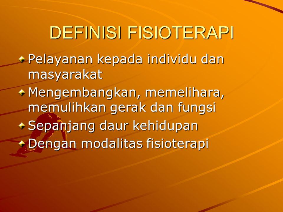 DEFINISI FISIOTERAPI Pelayanan kepada individu dan masyarakat Mengembangkan, memelihara, memulihkan gerak dan fungsi Sepanjang daur kehidupan Dengan modalitas fisioterapi