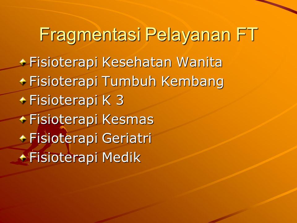 Fragmentasi Pelayanan FT Fisioterapi Kesehatan Wanita Fisioterapi Tumbuh Kembang Fisioterapi K 3 Fisioterapi Kesmas Fisioterapi Geriatri Fisioterapi Medik