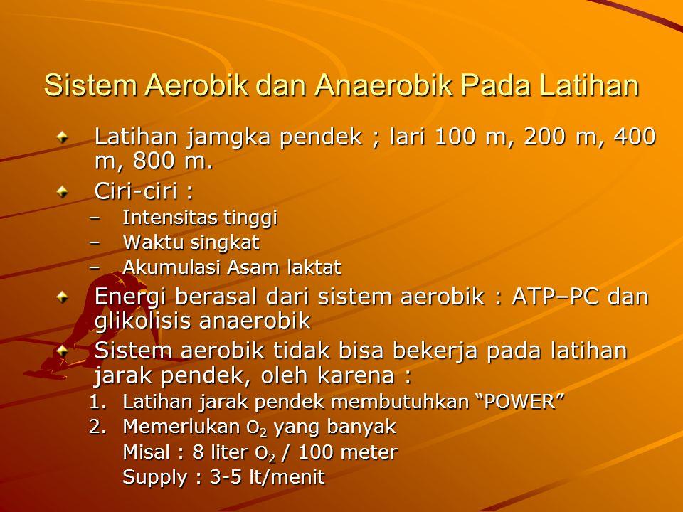Sistem Aerobik dan Anaerobik Pada Latihan Latihan jamgka pendek ; lari 100 m, 200 m, 400 m, 800 m.