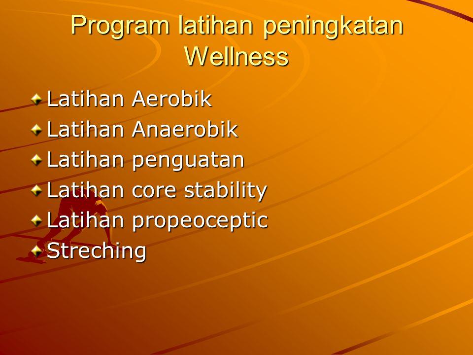 Program latihan peningkatan Wellness Latihan Aerobik Latihan Anaerobik Latihan penguatan Latihan core stability Latihan propeoceptic Streching