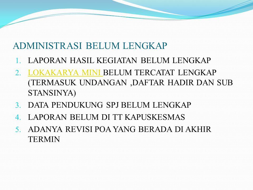 ADMINISTRASI BELUM LENGKAP 1.LAPORAN HASIL KEGIATAN BELUM LENGKAP 2.