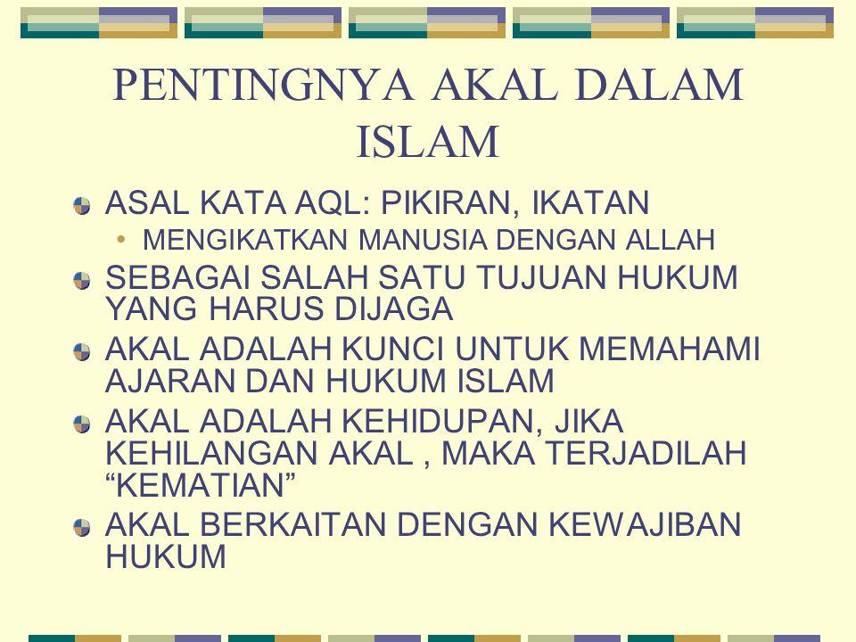 PENTINGNYA AKAL DALAM ISLAM ASAL KATA AQL: PIKIRAN, IKATAN MENGIKATKAN MANUSIA DENGAN ALLAH SEBAGAI SALAH SATU TUJUAN HUKUM YANG HARUS DIJAGA AKAL ADA