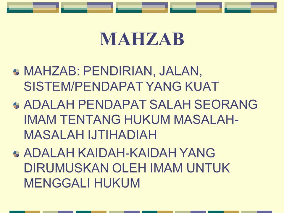 MAHZAB MAHZAB: PENDIRIAN, JALAN, SISTEM/PENDAPAT YANG KUAT ADALAH PENDAPAT SALAH SEORANG IMAM TENTANG HUKUM MASALAH- MASALAH IJTIHADIAH ADALAH KAIDAH-