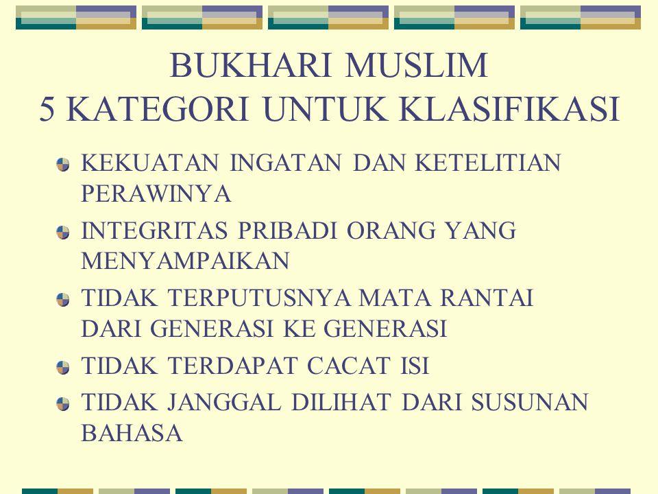 BUKHARI MUSLIM 5 KATEGORI UNTUK KLASIFIKASI KEKUATAN INGATAN DAN KETELITIAN PERAWINYA INTEGRITAS PRIBADI ORANG YANG MENYAMPAIKAN TIDAK TERPUTUSNYA MAT