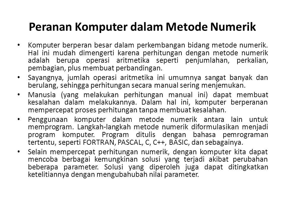 Peranan Komputer dalam Metode Numerik Komputer berperan besar dalam perkembangan bidang metode numerik.