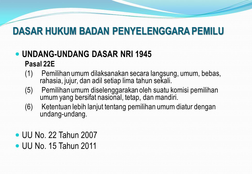 DASAR HUKUM BADAN PENYELENGGARA PEMILU UNDANG-UNDANG DASAR NRI 1945 Pasal 22E (1) Pemilihan umum dilaksanakan secara langsung, umum, bebas, rahasia, j