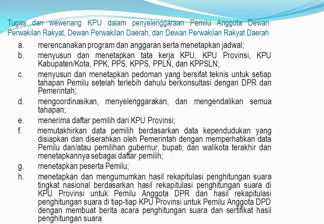 Tugas dan wewenang KPU dalam penyelenggaraan Pemilu Anggota Dewan Perwakilan Rakyat, Dewan Perwakilan Daerah, dan Dewan Perwakilan Rakyat Daerah a.mer