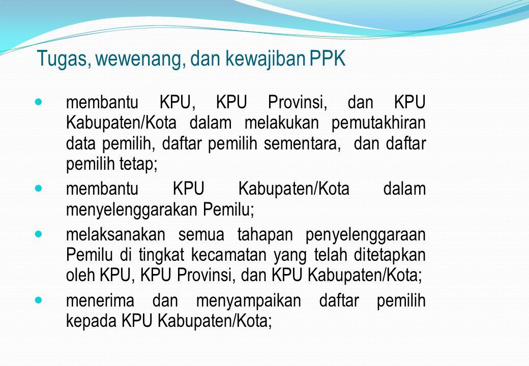 Tugas, wewenang, dan kewajiban PPK membantu KPU, KPU Provinsi, dan KPU Kabupaten/Kota dalam melakukan pemutakhiran data pemilih, daftar pemilih sement