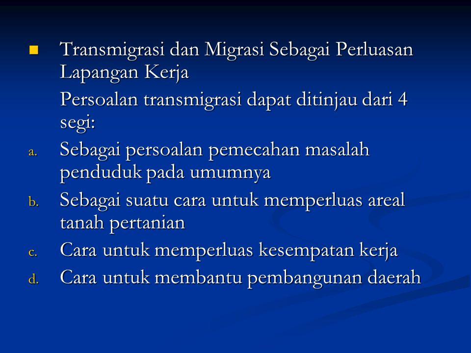 Transmigrasi dan Migrasi Sebagai Perluasan Lapangan Kerja Transmigrasi dan Migrasi Sebagai Perluasan Lapangan Kerja Persoalan transmigrasi dapat ditin