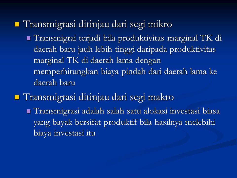 Transmigrasi ditinjau dari segi mikro Transmigrasi ditinjau dari segi mikro Transmigrai terjadi bila produktivitas marginal TK di daerah baru jauh leb