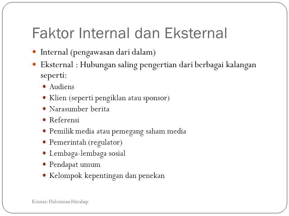 Faktor Internal dan Eksternal Internal (pengawasan dari dalam) Eksternal : Hubungan saling pengertian dari berbagai kalangan seperti: Audiens Klien (s