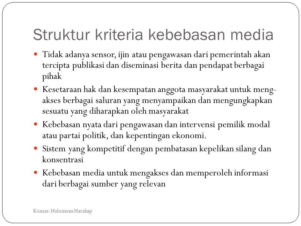 Struktur kriteria kebebasan media Tidak adanya sensor, ijin atau pengawasan dari pemerintah akan tercipta publikasi dan diseminasi berita dan pendapat